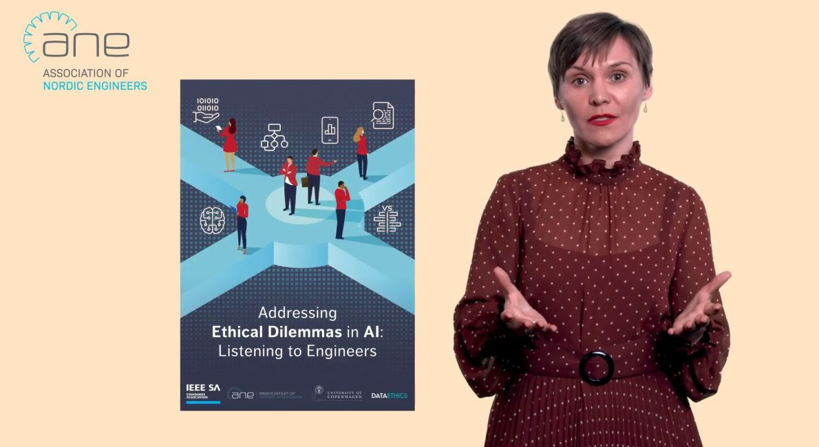 Image shows the front of the report Adressing Ethical Dilemmas in AI and an insert of Inese Podagiska, Sec Gen at ANE.
